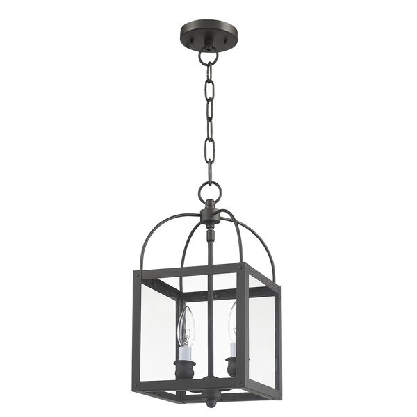 Milford Bronze Two-Light 15-Inch Convertible Pendant with Clear Glass, image 3