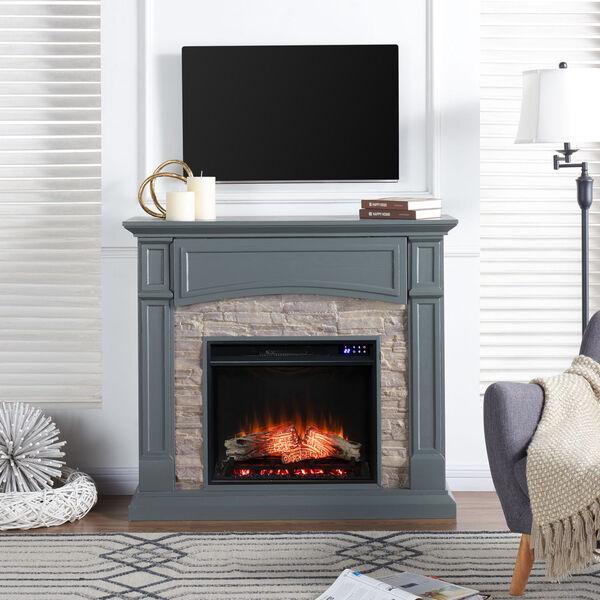 Seneca Cool Slate Gray Electric Media Fireplace, image 1