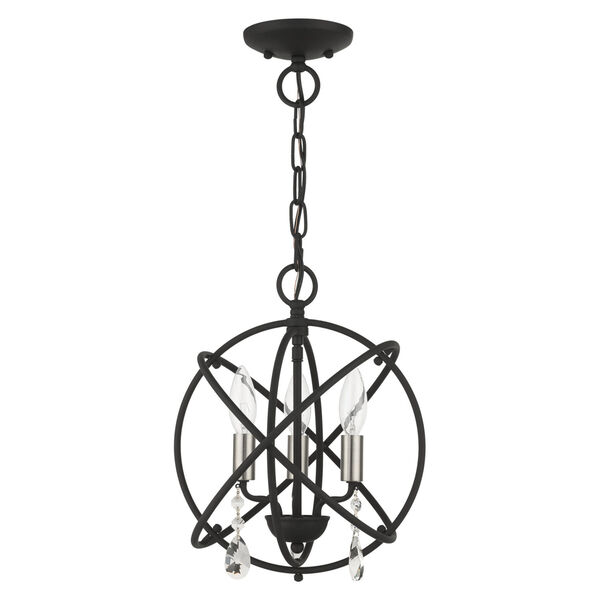 Aria Black 13-Inch Three-Light Convertible Chandelier, image 2