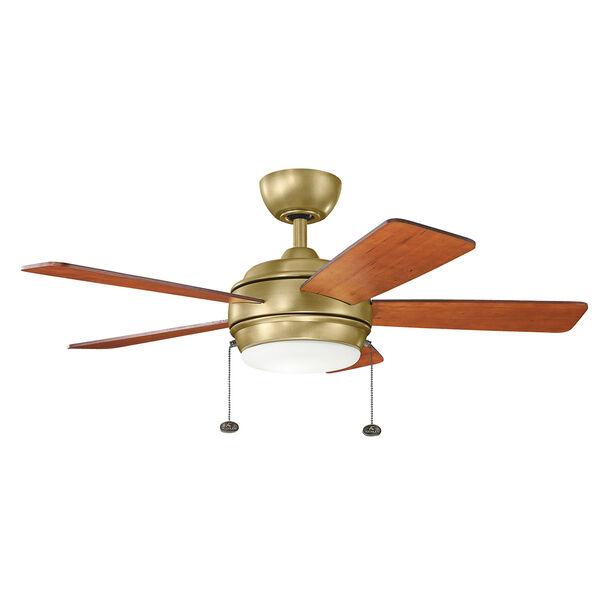 Starkk Natural Brass 42-Inch LED Ceiling Fan with Light Kit, image 1