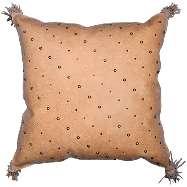 Genuine Leather Tan 20 In. X 24 In. Studded Leather Throw Pillow with Tassel, image 1