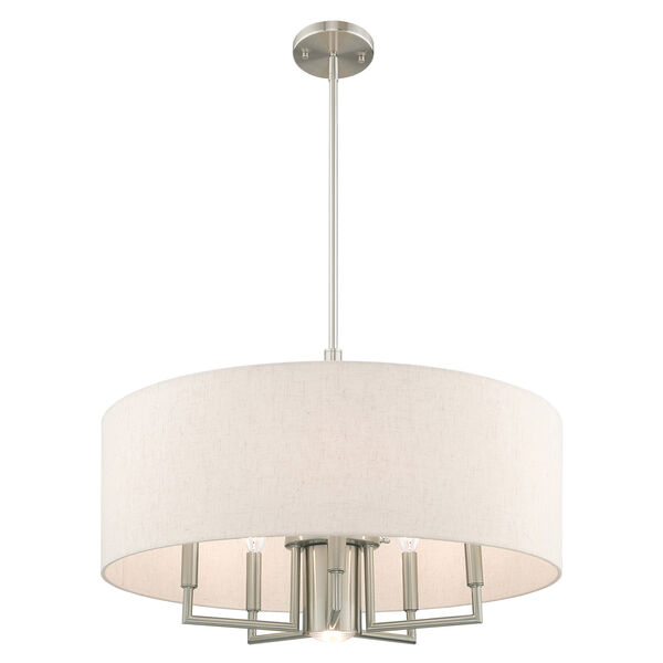 Meridian Brushed Nickel 24-Inch Six-Light Pendant Chandelier with Hand Crafted Oatmeal Hardback Shade, image 4