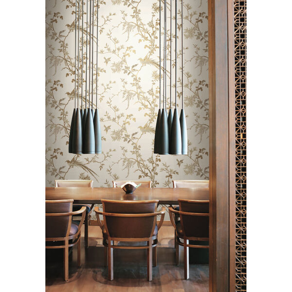Ronald Redding 24 Karat White and Gold Bird And Blossom Chinoserie Wallpaper, image 6