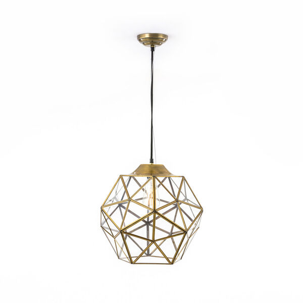 River Station Antique Gold Large Glass and Metal Faceted Pendant, image 1