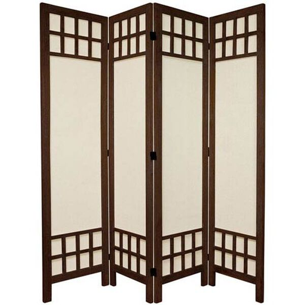 5 1/2 Ft. Tall Window Pane Fabric Room Divider Burnt Brown Four Panel, Width - 17.25 Inches, image 1
