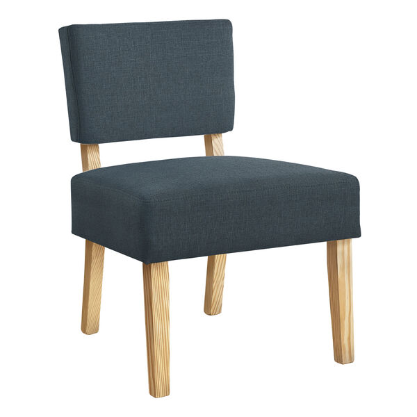 Blue and Natural Armless Chair, image 1
