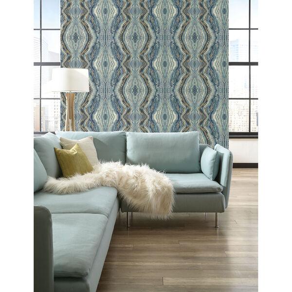 Antonina Vella Blue Kashmir Kaleidoscope Wallpaper, image 1