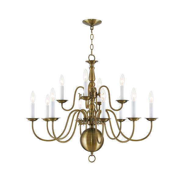Williamsburgh Antique Brass 12 Light Chandelier, image 1