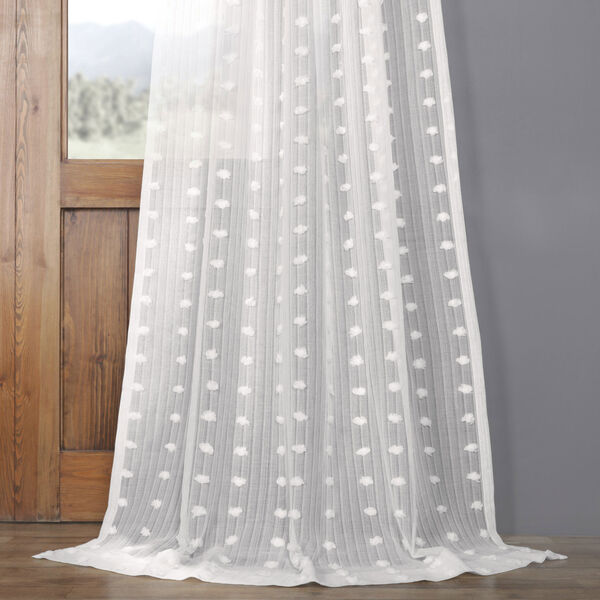 White Dot Patterned Faux Linen Sheer 108 x 50 In. Curtain Single Panel, image 4