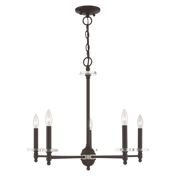Bancroft Bronze Five-Light Chandelier, image 1