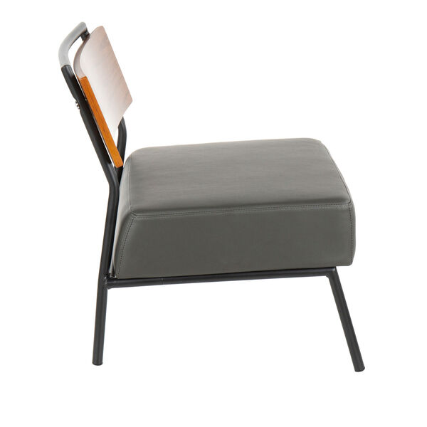 Fiji Black, Walnut Wood and Gray Armless Accent Chair, image 2