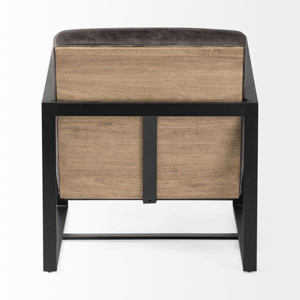 Stamford I Ebony Leather Wrapped Arm Chair, image 5