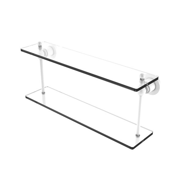 Astor Place Matte White 22-Inch Two Tiered Glass Shelf, image 1