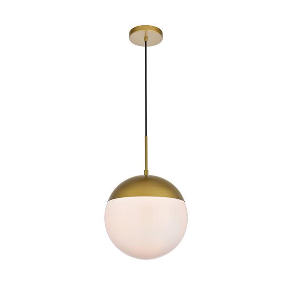 Eclipse Brass and Frosted White 12-Inch One-Light Pendant, image 3