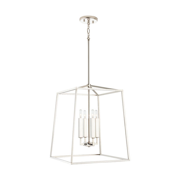 Thea Polished Nickel 71-Inch Four-Light Foyer Pendant, image 4