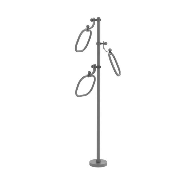 Matte Gray Nine-Inch Towel Stand with Oval Towel Rings with Dotted Ring Detail, image 1