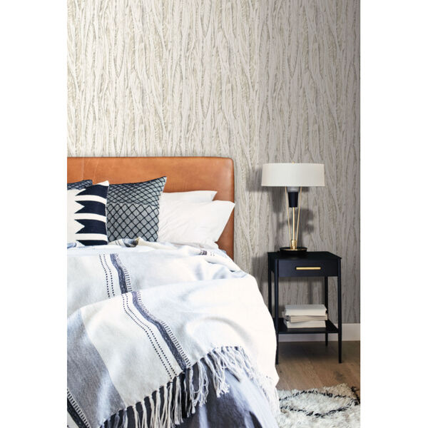 Antonina Vella Elegant Earth Cream Beige Native Leaves Bohemian Wallpaper, image 1