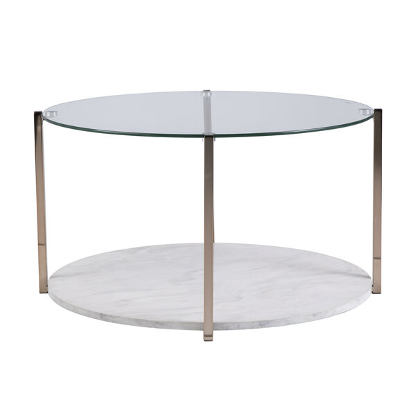 Avenida Gold with Gray Veined White Faux Marble Coffee Table, image 5
