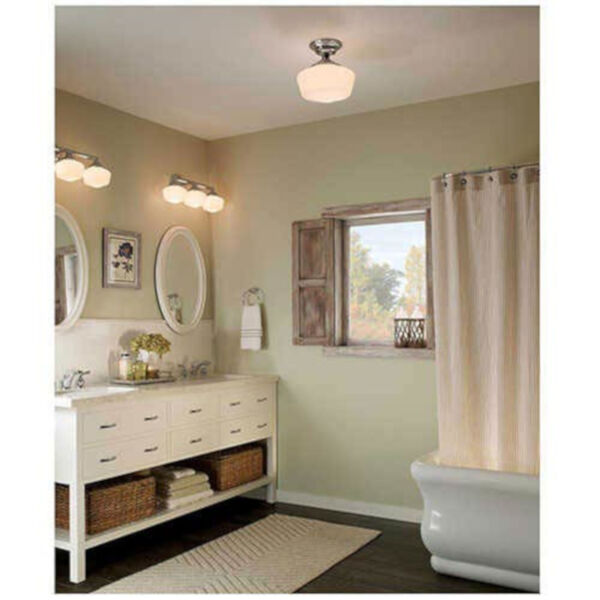 Russell Chrome Three-Light Wall Mounted Bath Fixture with Satin White Schoolhouse Glass, image 2