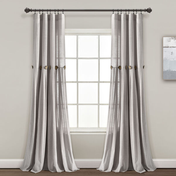 Linen Button Gray 40 x 95 In. Single Window Curtain Panel, image 1
