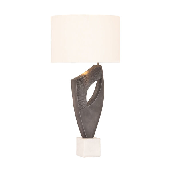 Fiora Aged Pewter and White Marble One-Light Table Lamp, image 1