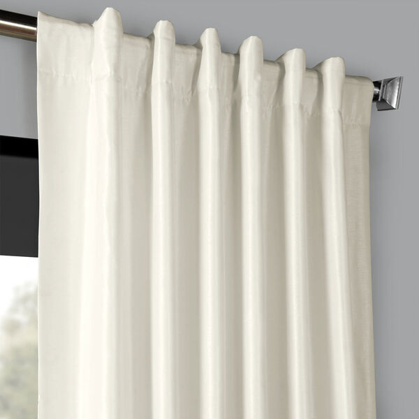 Off White 50 x 96-Inch Blackout Vintage Textured Faux Dupioni Silk Curtain, image 4