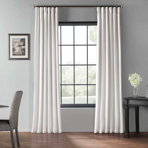 Ice 120 x 50 In. Blackout Vintage Textured Faux Dupioni Silk Curtain Single Panel, image 1