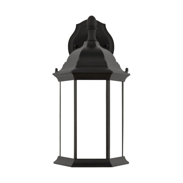 Sevier Black Eight-Inch One-Light Outdoor Downlight Wall Sconce with Satin Etched Shade, image 1