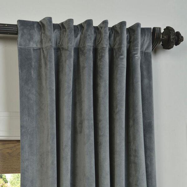 Natural Grey Blackout Velvet Pole Pocket Single Panel Curtain, 50 X 120, image 4