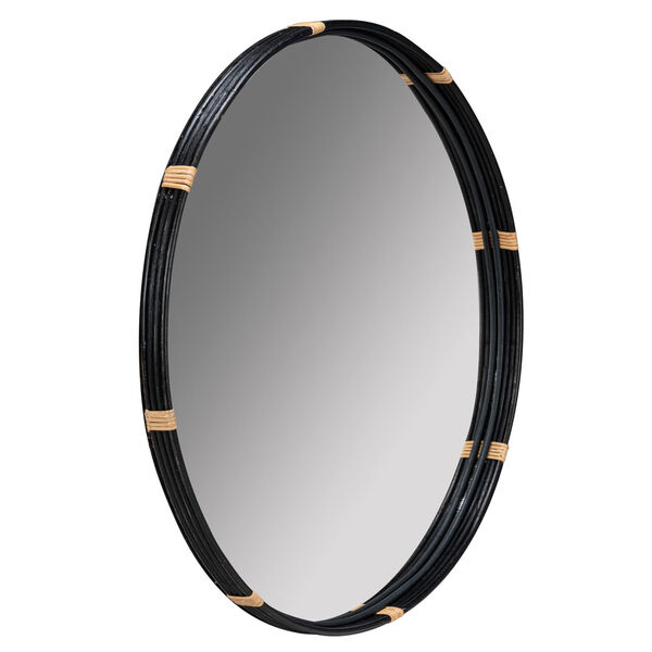 Evan Black and Natural Rattan 35-Inch x 35-Inch Wall Mirror, image 3