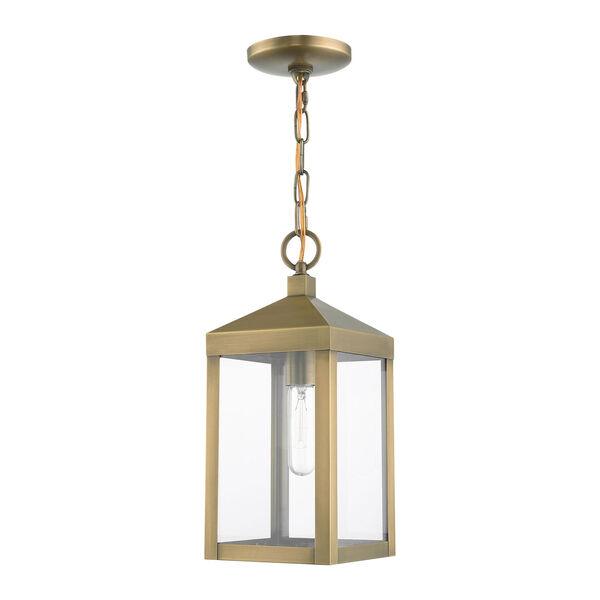 Nyack Antique Brass One-Light Outdoor Pendant Lantern, image 2