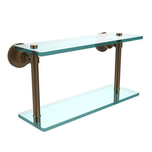 Washington Square Brushed Bronze 16 Inch Double Glass Shelf, image 1