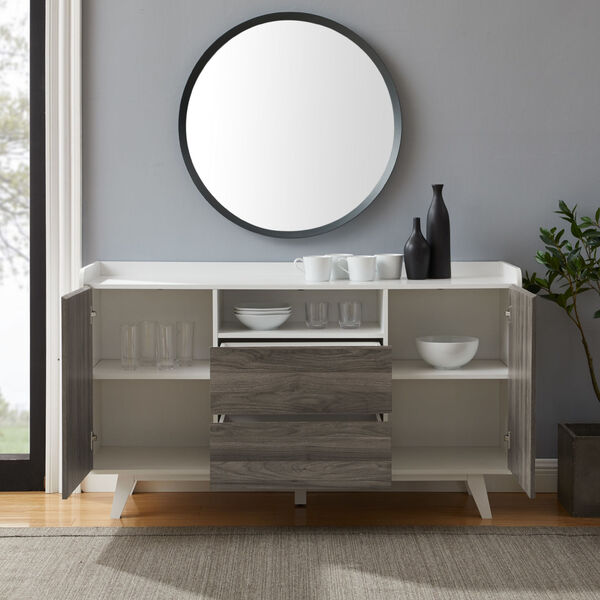 Friday Solid White and Slate Grey Two Door Sideboard, image 4