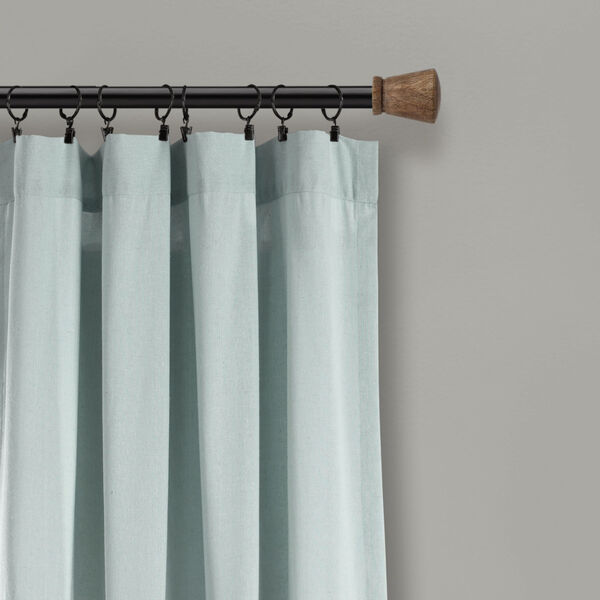 Linen Button Blue and Gray 40 x 108 In. Single Window Curtain Panel, image 3