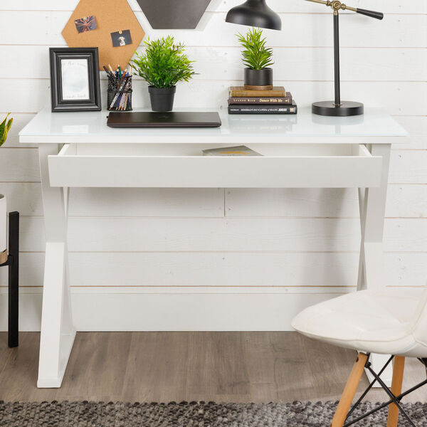 Home Office 48-inch White Glass Computer Desk, image 6
