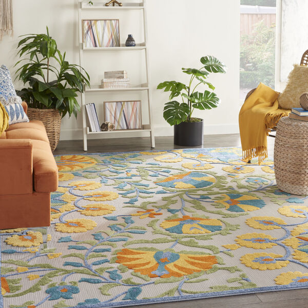 Aloha Blue and Yellow Indoor/Outdoor Area Rug, image 1