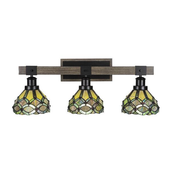 Tacoma Matte Black and Distressed Wood-lock Metal 28-Inch Three-Light Bath Light with Grand Merlot Art Glass Shade, image 1