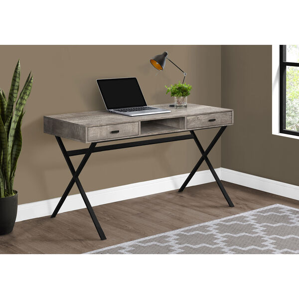 Taupe and Black 24-Inch Computer Desk with Crisscross Metal Legs, image 2