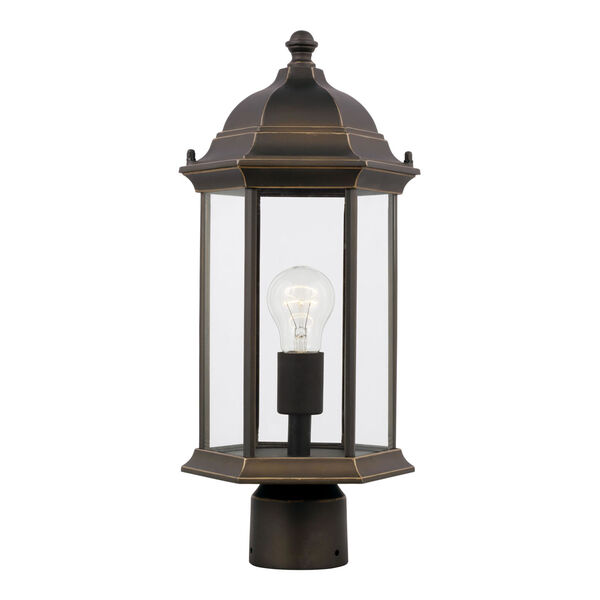 Sevier Antique Bronze One-Light Outdoor Post Mount with Satin Etched Shade, image 1