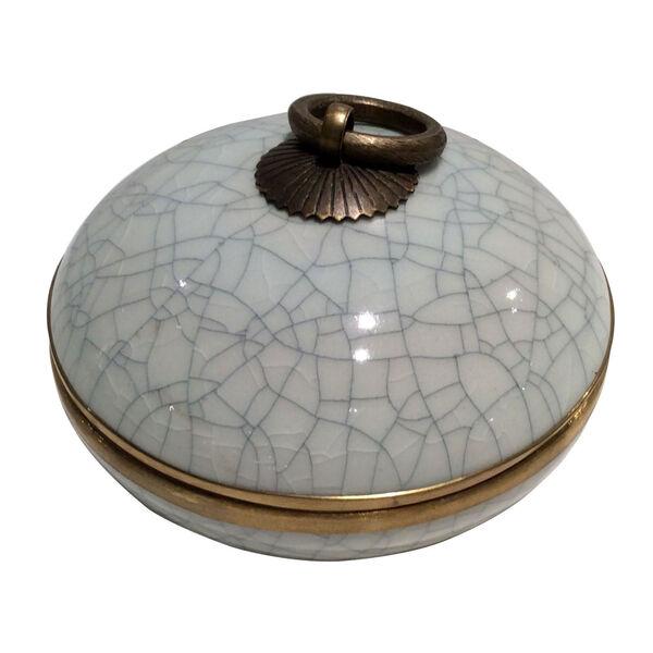 Blue White Gold Cache Pot, image 1