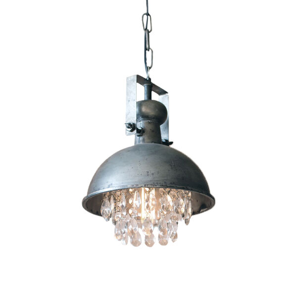 Gun Metal One-Light Dome Pendant with Hanging Crystal, image 1