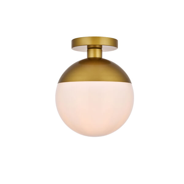 Eclipse Brass and Frosted White 10-Inch One-Light Semi-Flush Mount, image 1