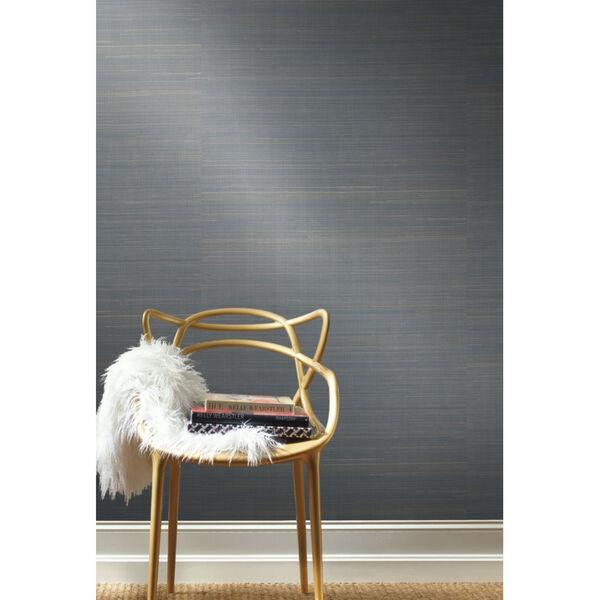 Antonina Vella Elegant Earth Blue Abaca Weaves Wallpaper, image 4