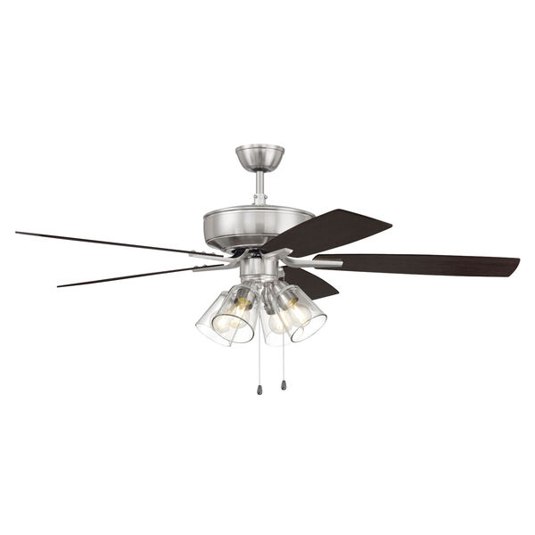 Pro Plus Brushed Polished Nickel 52-Inch Four-Light Ceiling Fan with Clear Glass Bell Shade, image 5