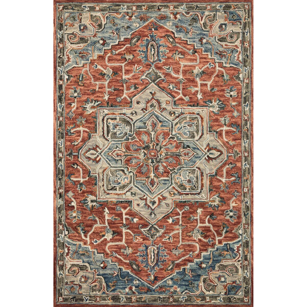 Victoria Red with Multicolor Rectangle: 5 Ft. x 7 Ft. 6 In. Rug, image 1