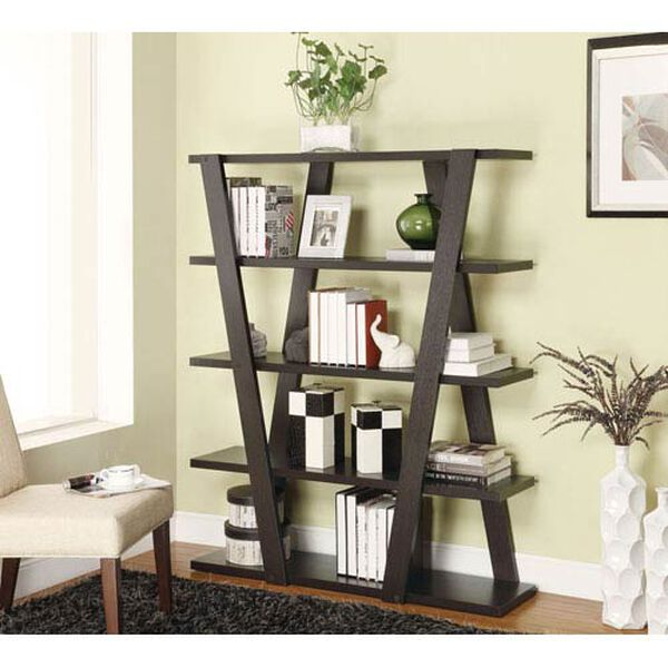 Cappuccino Modern Bookshelf with Inverted Supports and Open Shelves, image 1