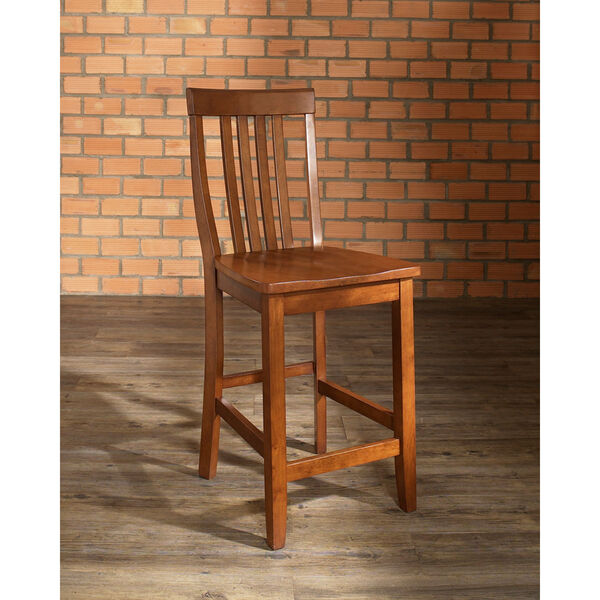 School House Bar Stool in Classic Cherry Finish with 24 Inch Seat Height- Set of Two, image 5