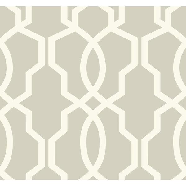 Ashford Geometrics Light Grey and White Hourglass Trellis Wallpaper: Sample Swatch Only, image 1