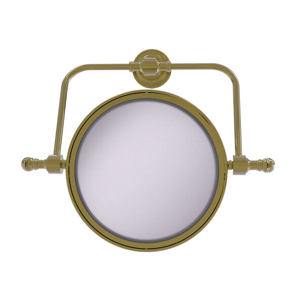 Retro Dot Unlacquered Brass Seven-Inch Wall Mounted Swivel Make-Up Mirror with 3X Magnification, image 1