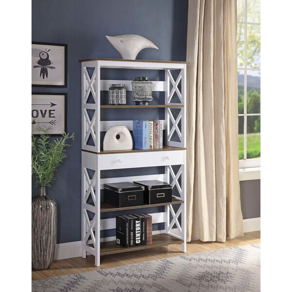 Oxford Driftwood White Five-Tier Bookcase with Drawer, image 2